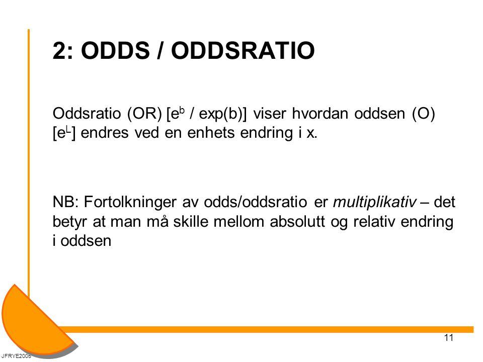 2: ODDS / ODDSRATIO Oddsratio (OR) [eb / exp(b)] viser hvordan oddsen (O) [eL] endres ved en enhets endring i x.